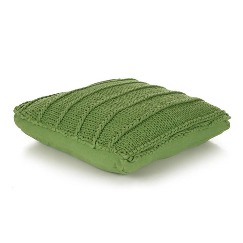 Floor Cushion Square Knitted Cotton 60x60 cm Green