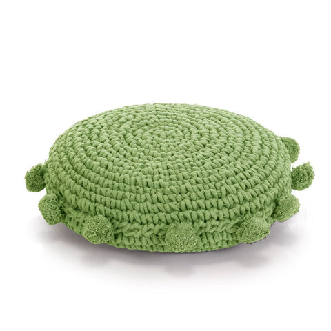 Floor Cushion Round Knitted Cotton 45 cm Green