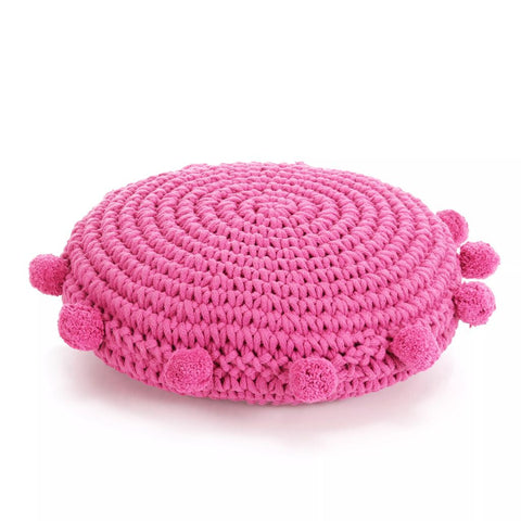 Floor Cushion Round Knitted Cotton 45 cm Pink