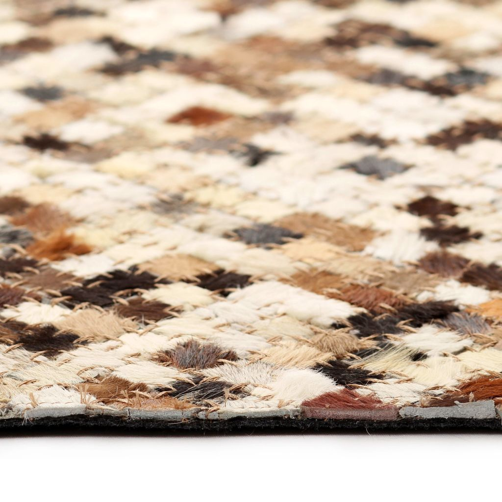 Rug Genuine Leather Patchwork 80x150 cm Square Brown/White