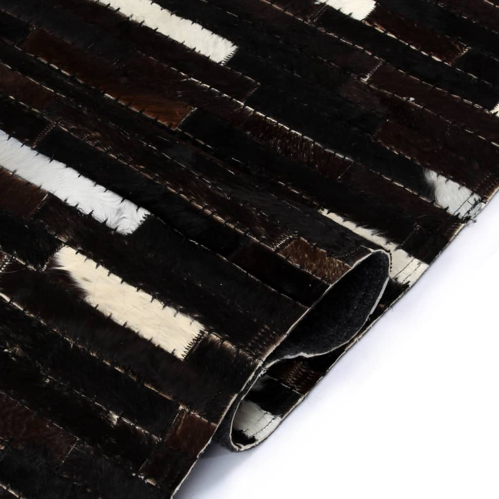 Rug Genuine Leather Patchwork 160x230 cm Stripe Black/White