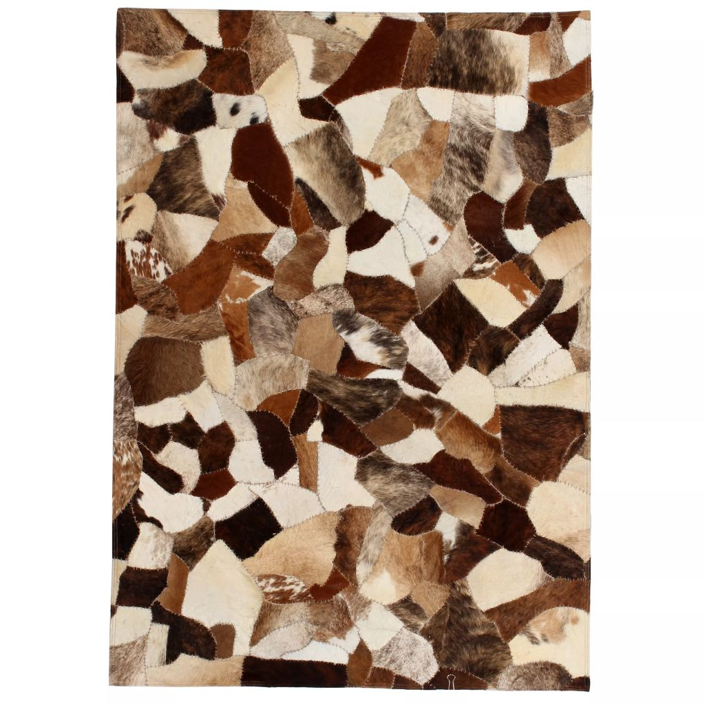 Rug Genuine Leather Patchwork 80x150 cm Random Brown/White