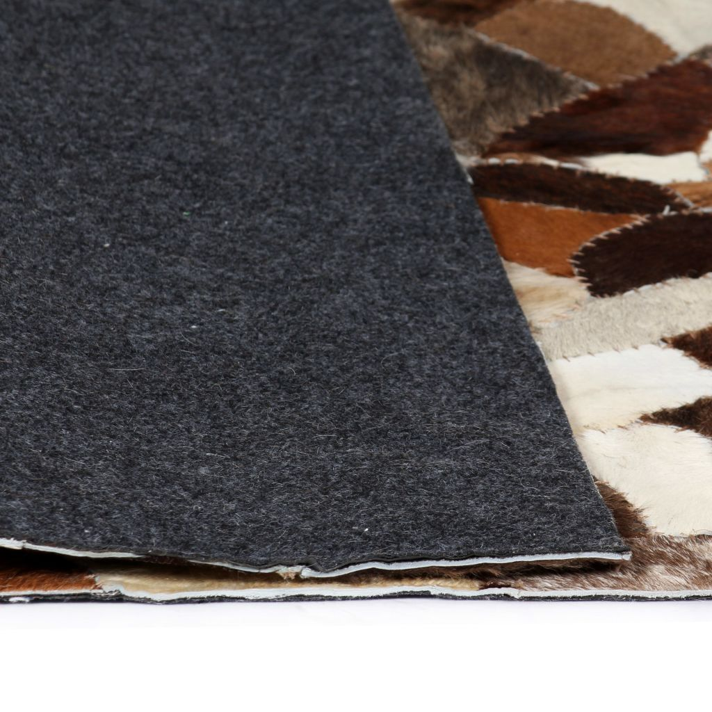 Rug Genuine Leather Patchwork 120x170 cm Random Brown/White