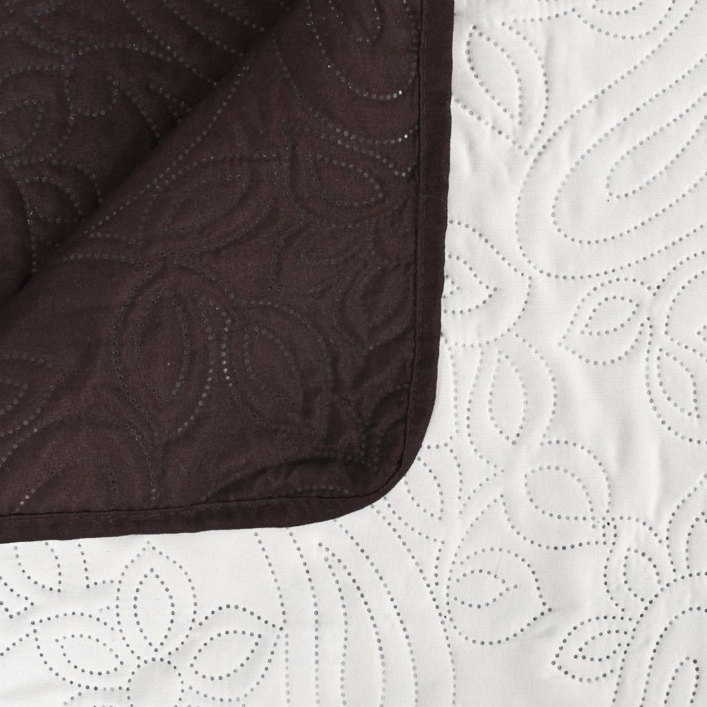 Double-sided Quilted Bedspread 170x210 cm Cream and Brown