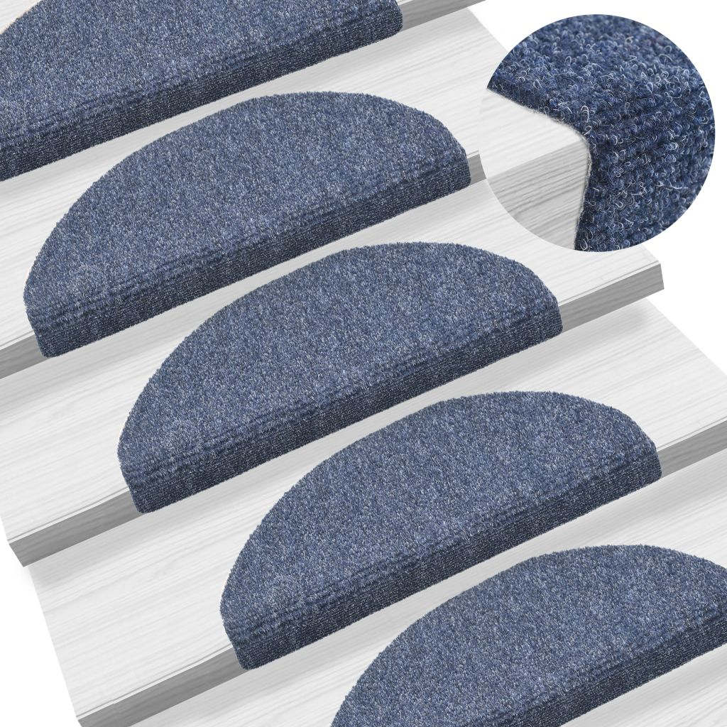 15 pcs Self-adhesive Stair Mats Needle Punch 65x21x4 cm Blue