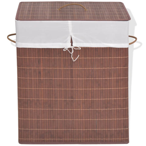 Bamboo Laundry Bin Rectangular Brown