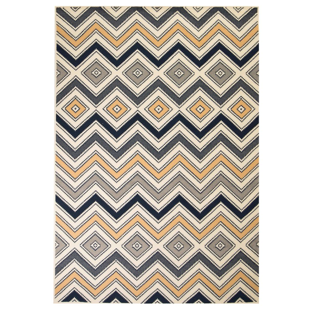 Modern Rug Zigzag Design 140x200 cm Brown/Black/Blue