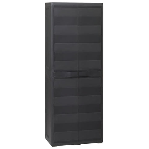 Garden Storage Cabinet with 3 Shelves Black