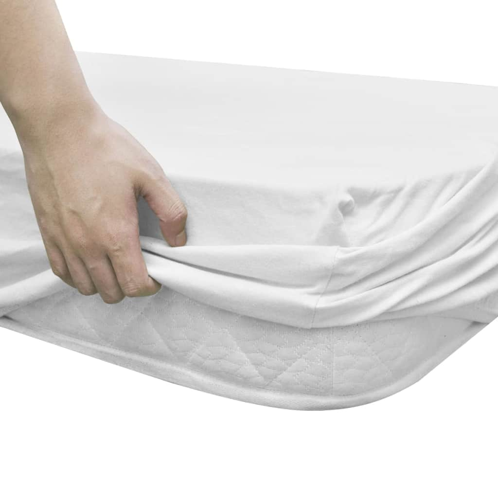 Fitted Sheets for Waterbeds 2pcs 200x220 cm Cotton Jersey White