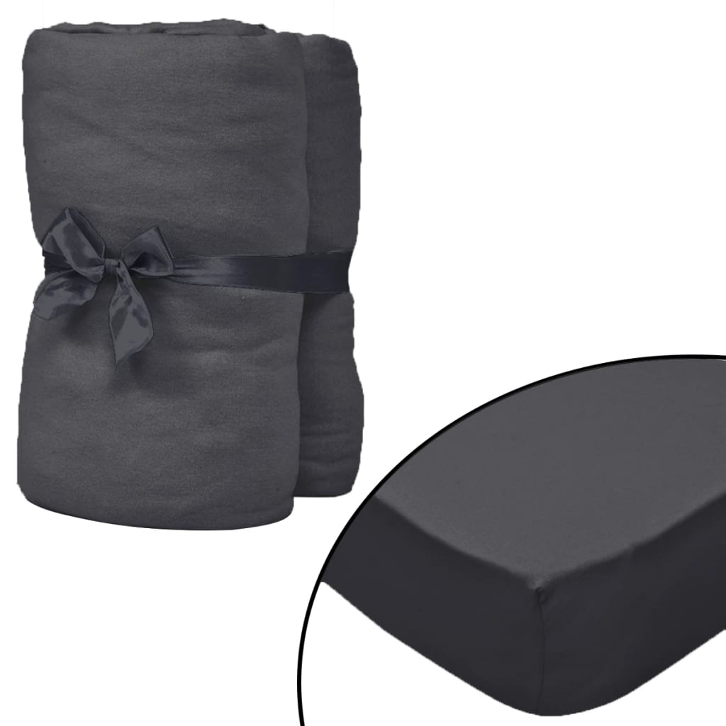Fitted Sheet for Waterbeds 2pcs 1.6x2m Cotton Jersey Anthracite