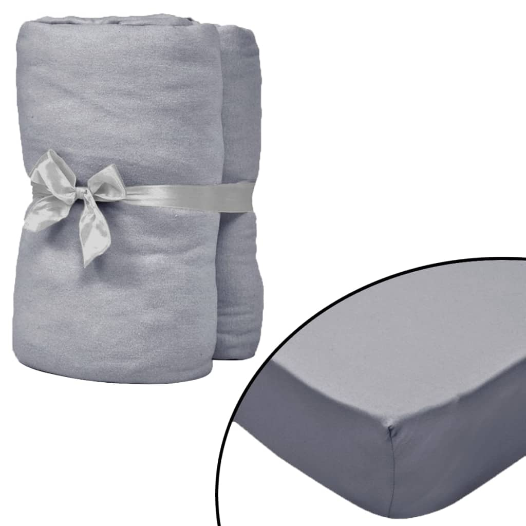Fitted Sheets for Waterbeds 2pcs 160x200 cm Cotton Jersey Grey