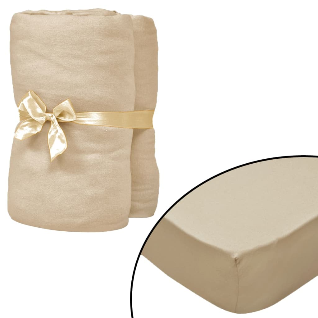Fitted Sheets 2 pcs 150x200 cm Cotton Jersey Beige