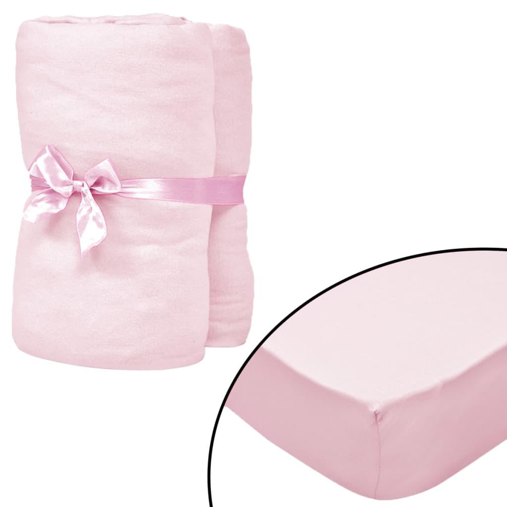 Fitted Sheets for Cots 4 pcs Cotton Jersey 40x80 cm Pink