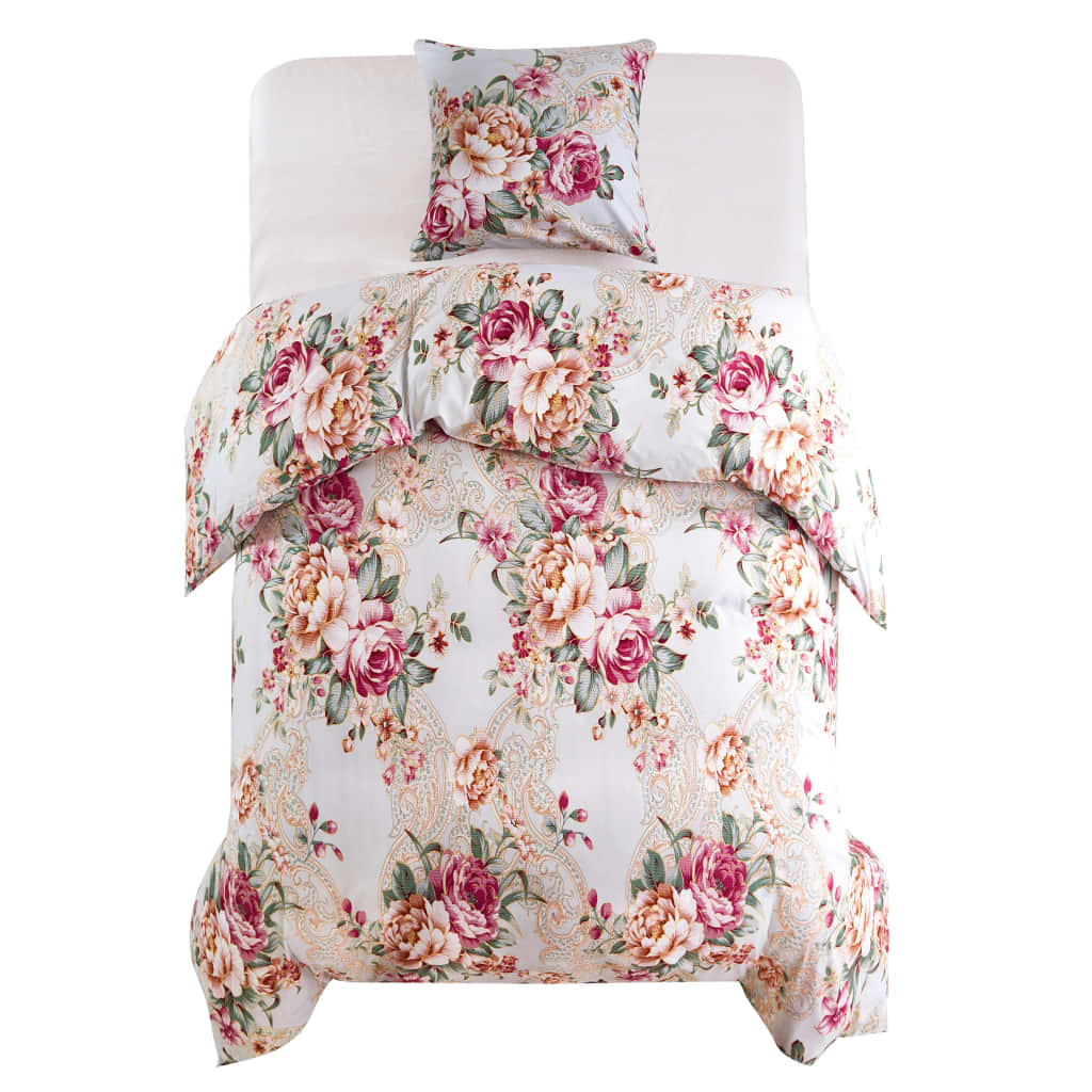 Duvet Cover Set Floral Design Multicolour 135x200/80x80 cm