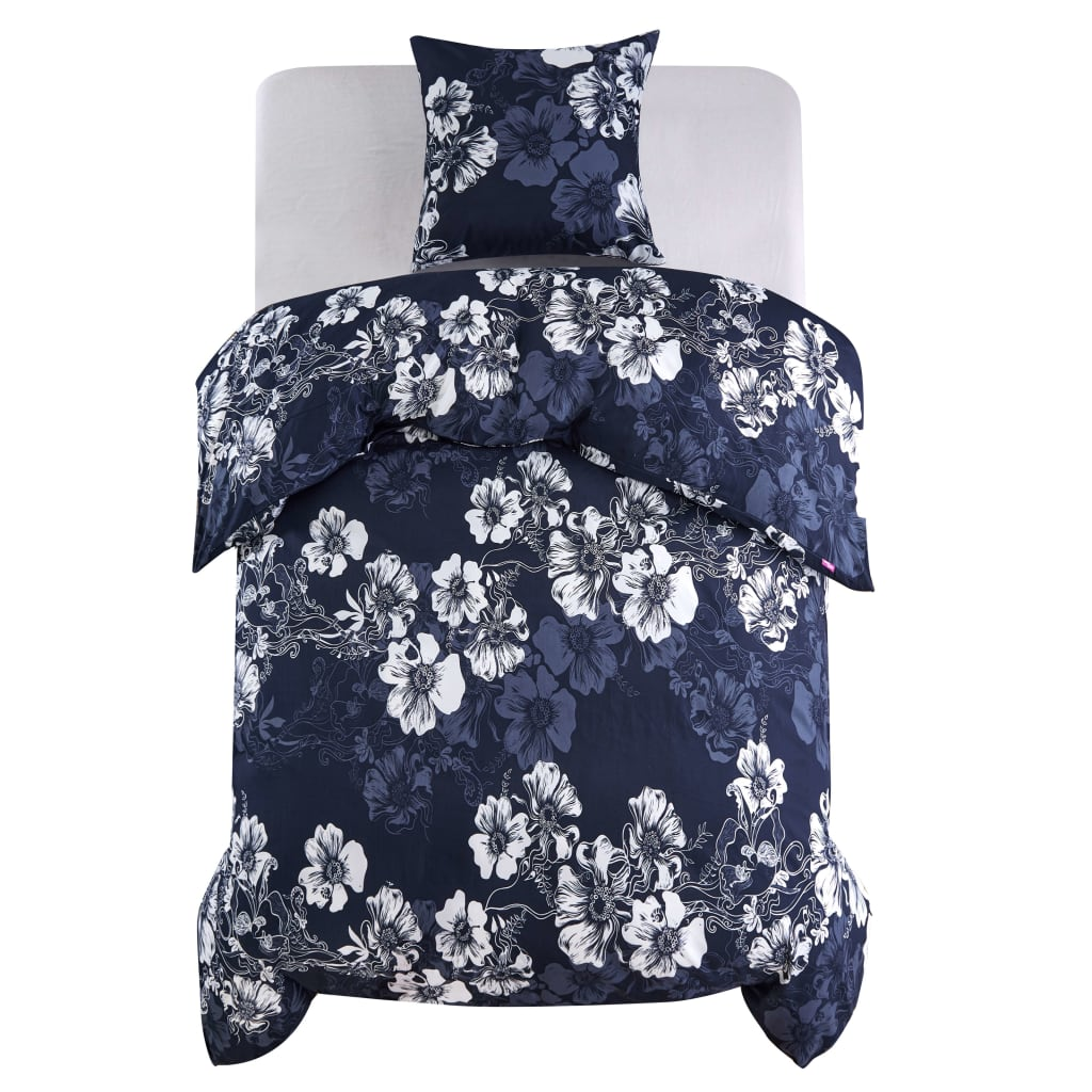 Duvet Cover Set Floral Design Navy 135x200/80x80 cm