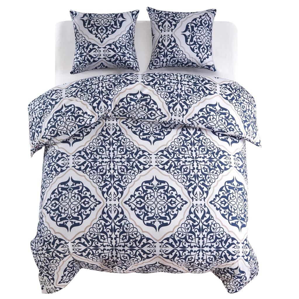 Duvet Cover Set Classic Design Navy 200x200/60x70 cm