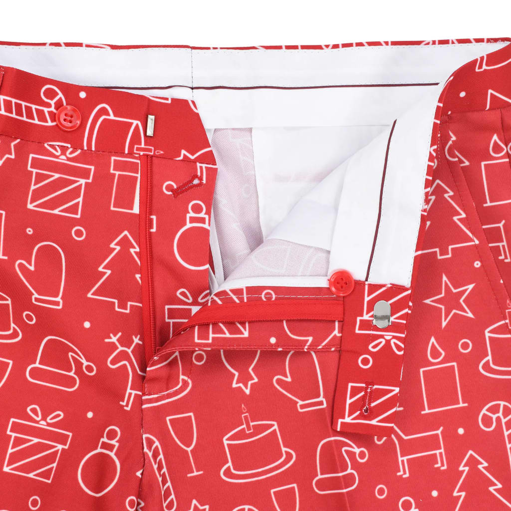 2 Piece Men's Christmas Suit with Tie Size 48 Gifts Red