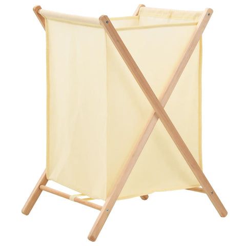 Laundry Basket Cedar Wood and Fabric Beige 42x41x64 cm