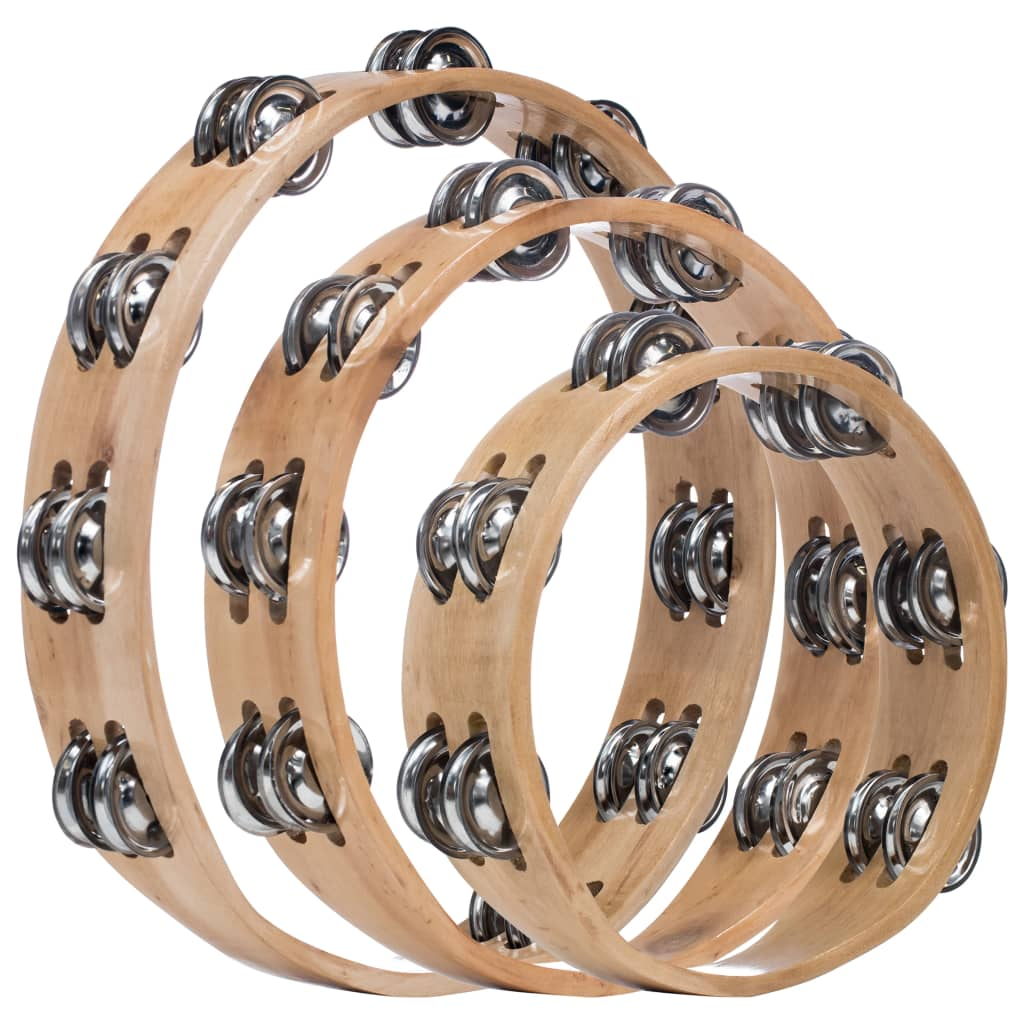 Headless Tambourine Set 3 pcs Wood
