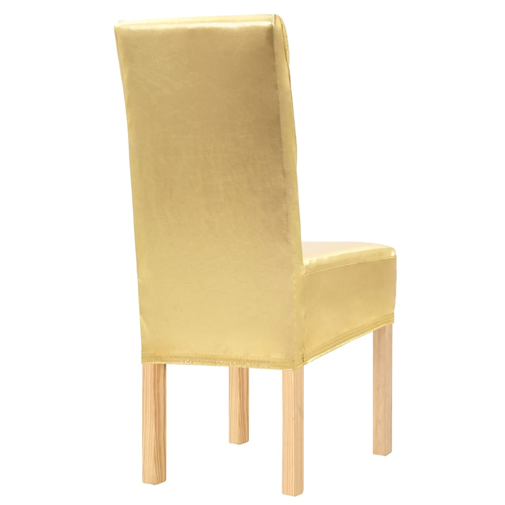 4 pcs Straight Chair Covers Stretch Gold
