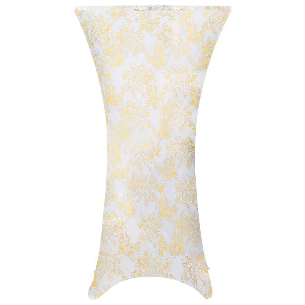 2 pcs Table Covers Stretch 80 cm White with Golden Print