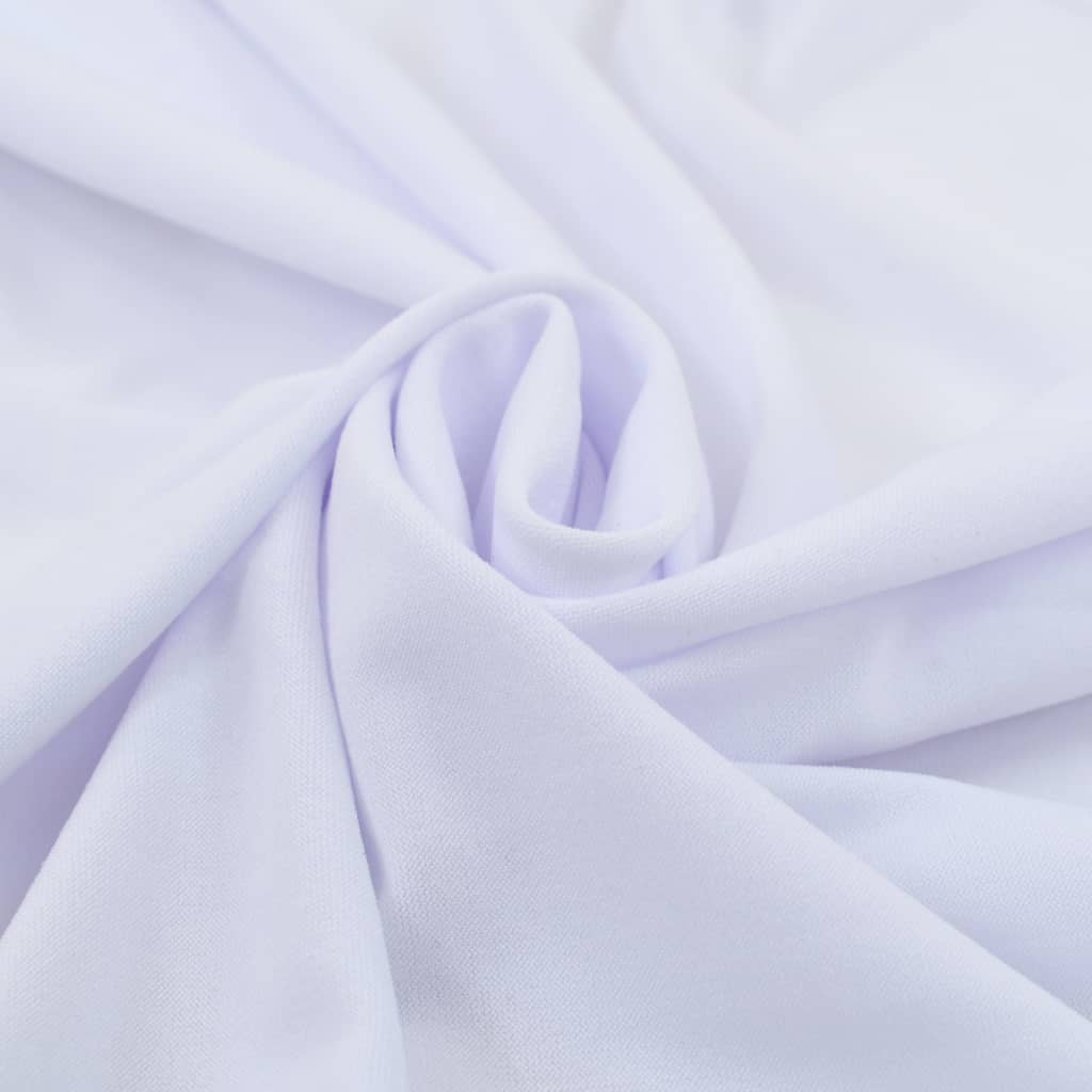 2 pcs Stretch Table Covers with Skirt 243x76x74 cm White