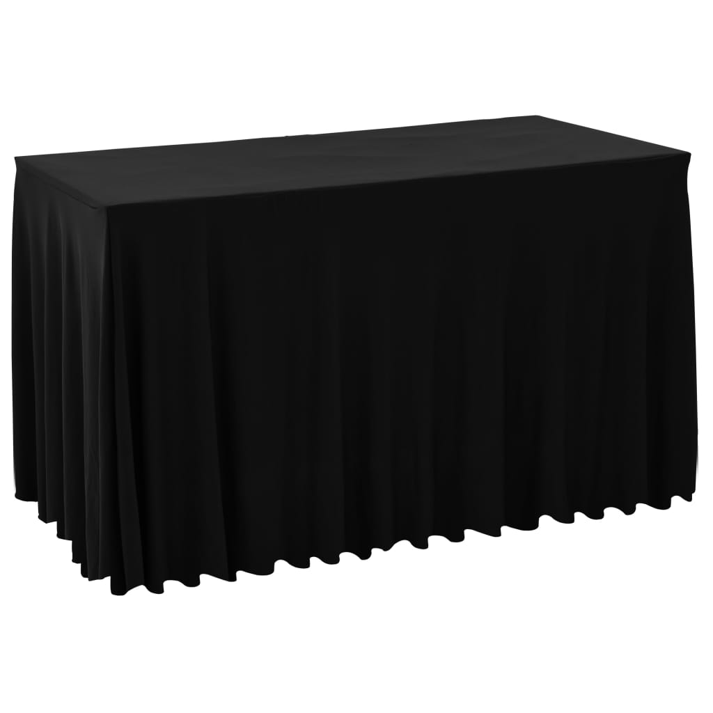 2 pcs Table Covers with Skirt Stretch 120x60.5x74 cm Black