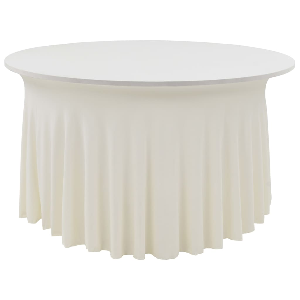 2 pcs Stretch Table Covers with Skirt 120x74 cm Cream