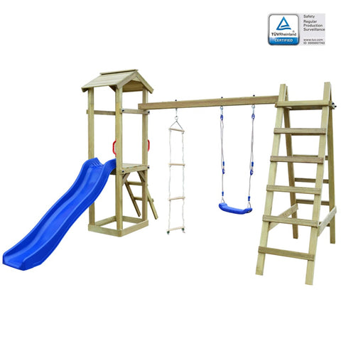 Playhouse with Slide Ladders Swing 286x237x218 cm Wood