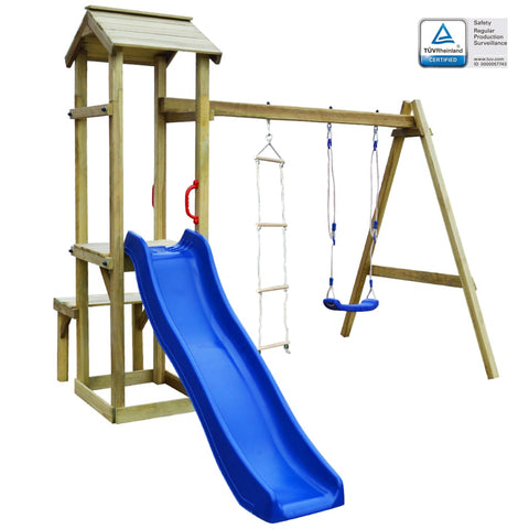 Playhouse with Slide Swing Ladder 238x228x218 cm Wood