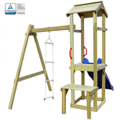 Playhouse with Slide Ladder 228x168x218 cm Wood