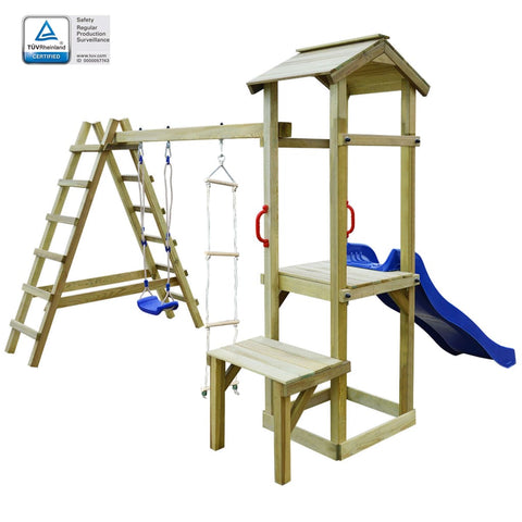 Playhouse with Slide Ladders Swing 286x228x218 cm Wood