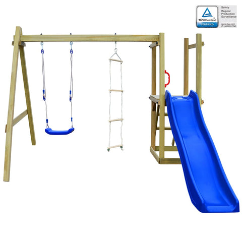 Playhouse with Slide Ladders Swing 242x237x175 cm Wood