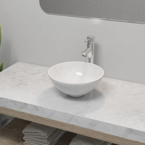Bathroom Basin with Mixer Tap Ceramic Round White