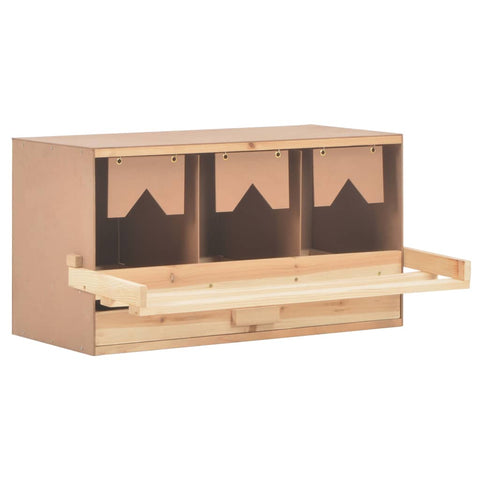 Chicken Laying Nest 3 Compartments 72x33x38 cm Solid Pine Wood