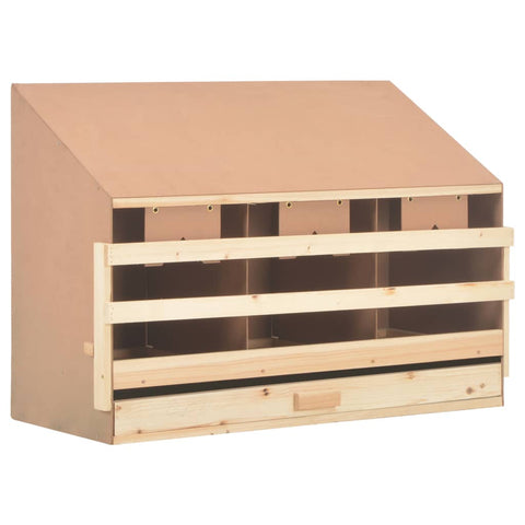 Chicken Laying Nest 3 Compartments 93x40x65 cm Solid Pine Wood