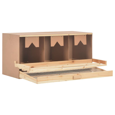 Chicken Laying Nest 3 Compartments 96x40x45 cm Solid Pine Wood