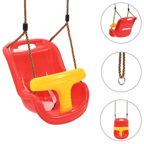 Baby Swing with Safety Belt PP Red