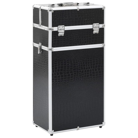Make-up Trolley Aluminium Black with Crocodile Pattern