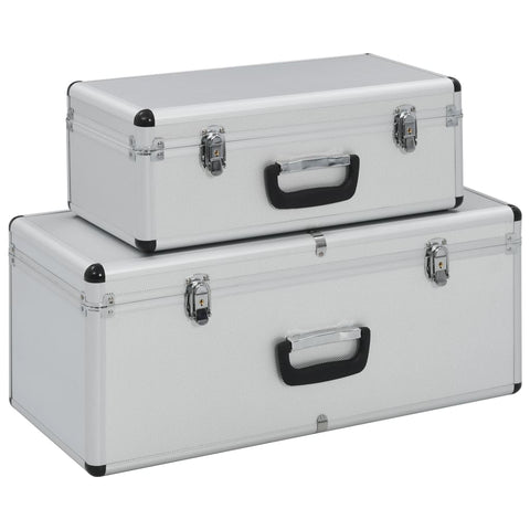 Storage Cases 2 pcs Silver Aluminium
