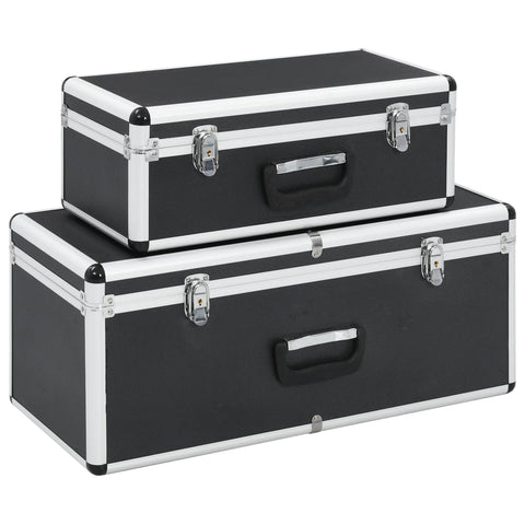 Storage Cases 2 pcs Black Aluminium