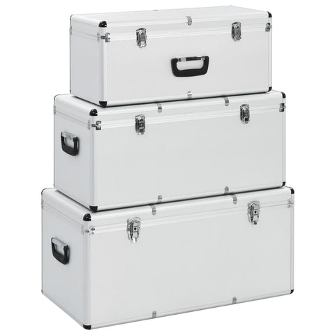Storage Cases 3 pcs Silver Aluminium
