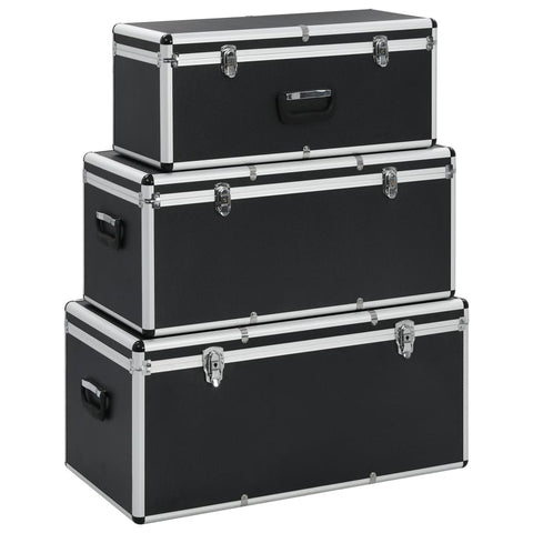 Storage Cases 3 pcs Black Aluminium