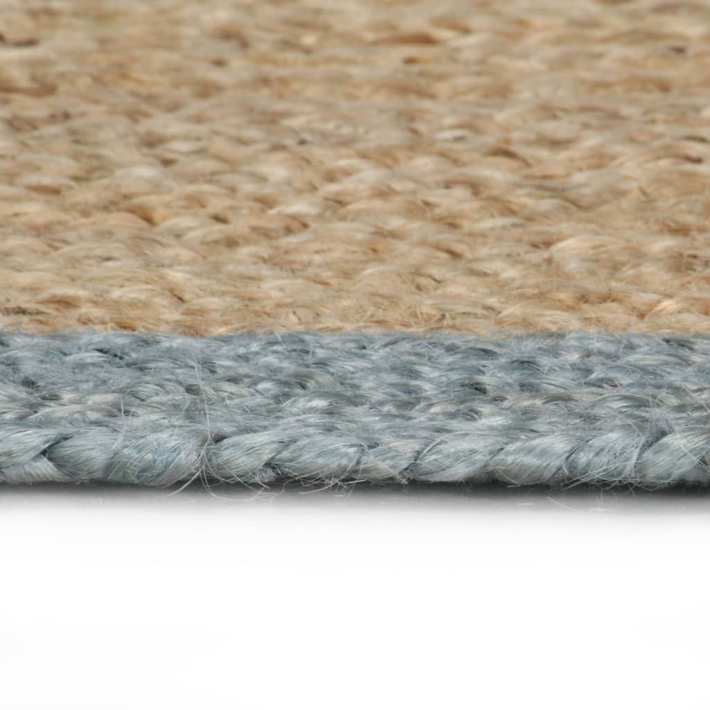 Handmade Rug Jute with Olive Green Border 90 cm
