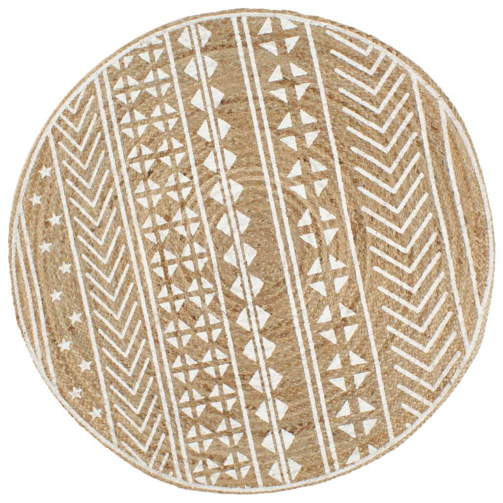 Handmade Rug Jute with White Print 150 cm