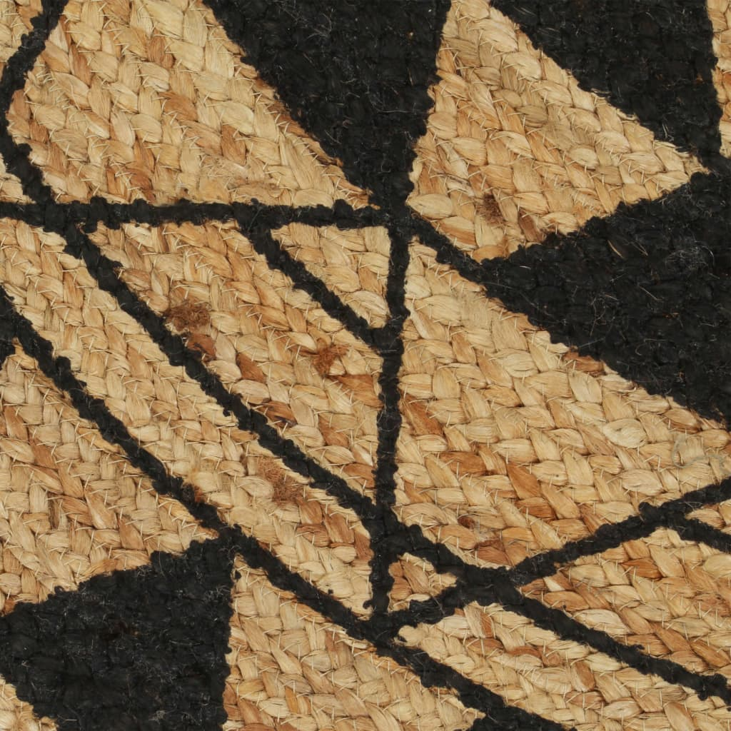 Handmade Rug Jute with Black Print 150 cm