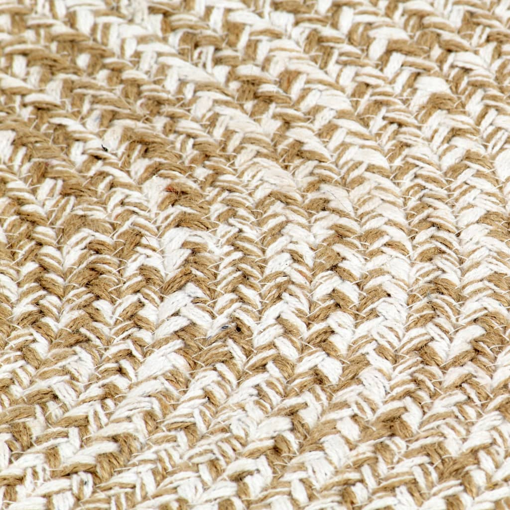 Handmade Rug Jute White and Natural 90 cm
