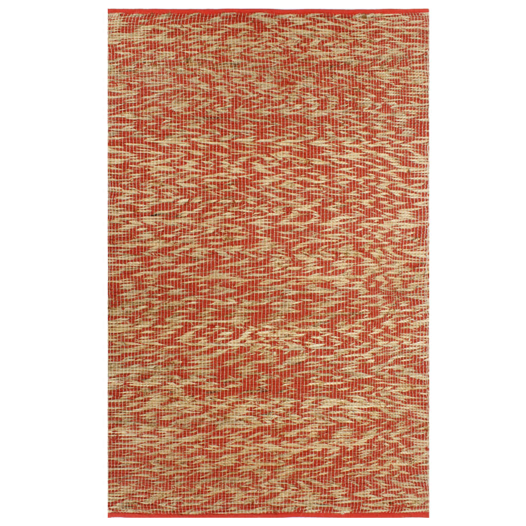 Handmade Rug Jute Red and Natural 160x230 cm