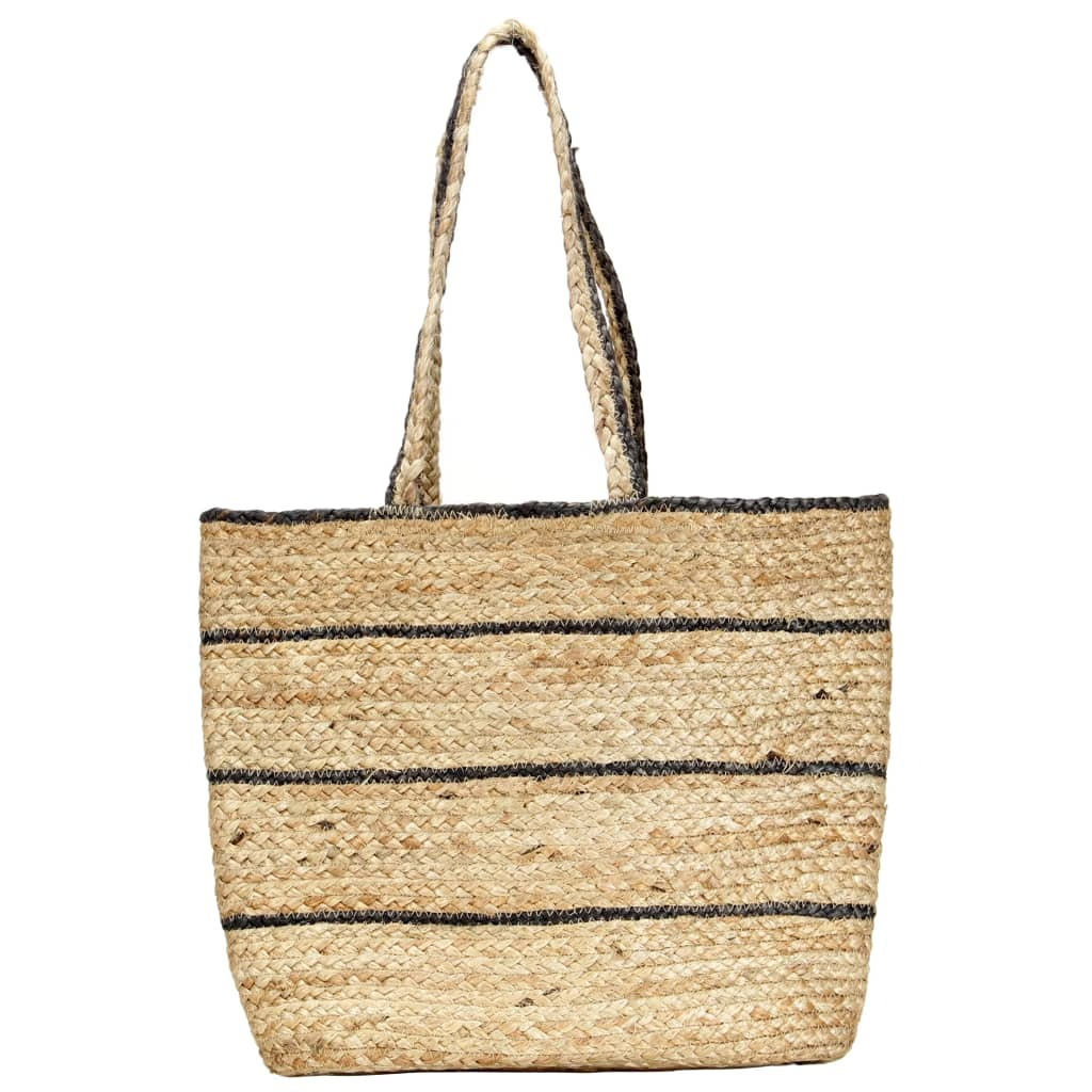 Shopper Bag Natural with Dark Grey Stripe Handmade Jute