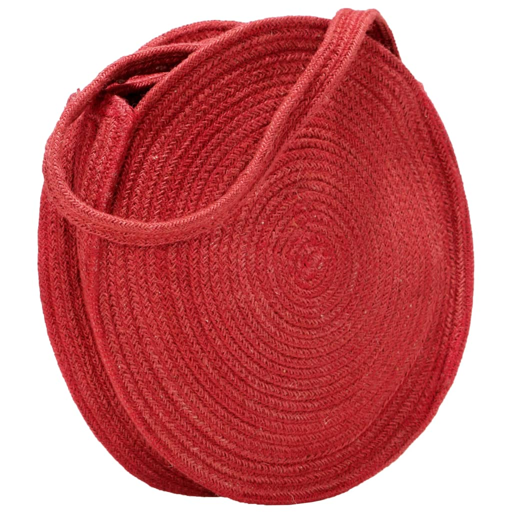 Round Shoulder Bag Rust Red Handmade Jute